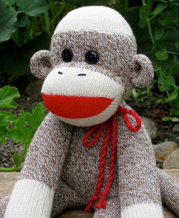 Sock Monkey - Traditional Red Heel with Button Eyes