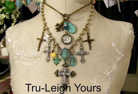 Reserved for Jennifer ...Cross My Heart ... Vintage, Gypsy, Boho, Spiritual, Crystal, Rhinestone Assemblage... Necklace