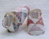 Cotton Baby Booties -  Baby Shower gift - Vintage Quilt Booties - Photo Prop
