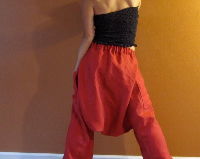 linen low crotch chipmunk pants made to order / custom length / harem pants / low crotch pants / plus size pants / women linen / women pants