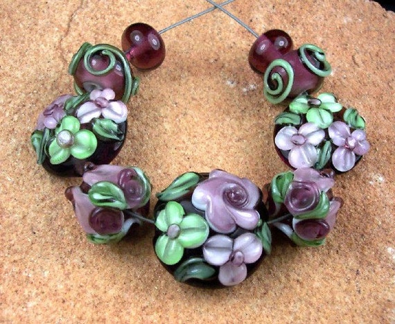 Lampwork Glass Beads, Amethyst Rose Garden SRA 352