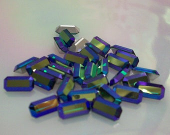 6 pcs 10x5mm Emerald AB Baguettes Vintage Swarovski 10x5mm Baguettes Iridescent Jewels Check My Shop's Main Page For Discount Codes