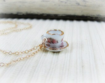 Teacup And Saucer Necklace -Miniature Teacup Jewelry- Fine Porcelain Miniature Tea Cup- 14K Gold Fill