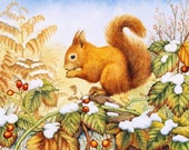 Red Squirrel art print by Valerie Greeley