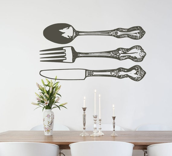 kitchen forks and knives silverware wall decals fork spoon knife flatware by householdwords 6413