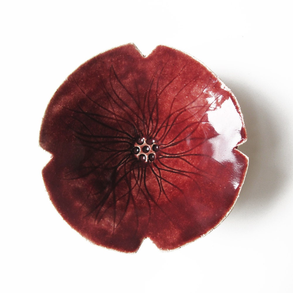 Ceramic Bowl Red Poppy Pottery Bowl Flower Shaped Candle
