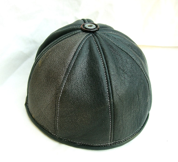 Leather Beanie in Distressed Gray/ Black, Unisex Style