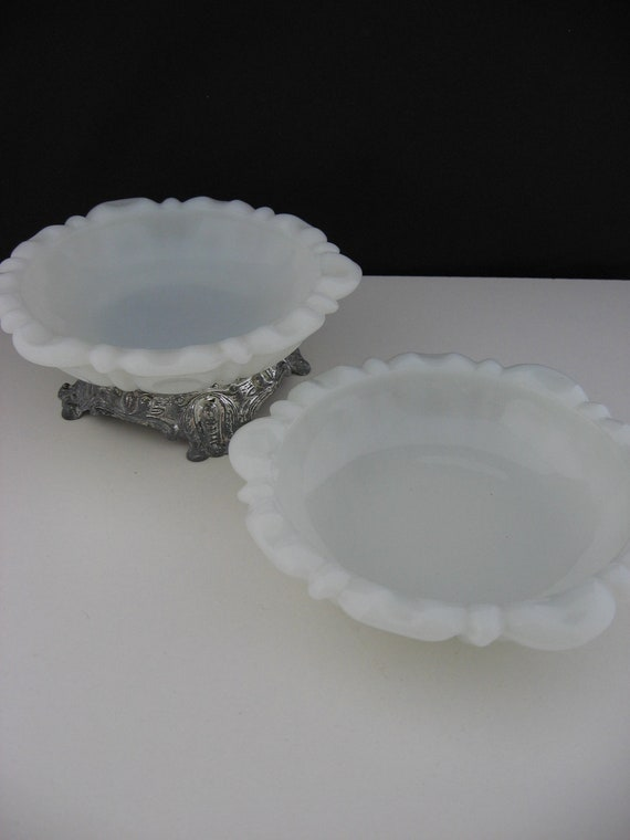Vintage Milkglass Thumbprint Anchor Hocking Set of 2 Ashtrays Trinket
