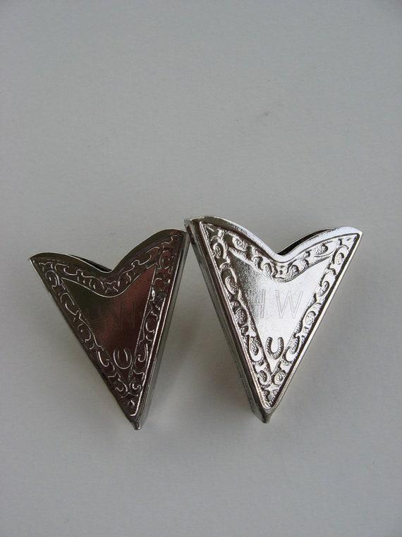 Vintage Southwest Square Dance Silver Tone Collar Tips Engraved
