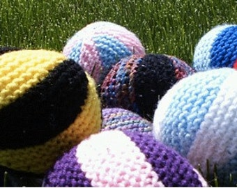 "Colorful Hand Knitted Toy Balls 9"" Diameter for Girl, Boy and Pets"