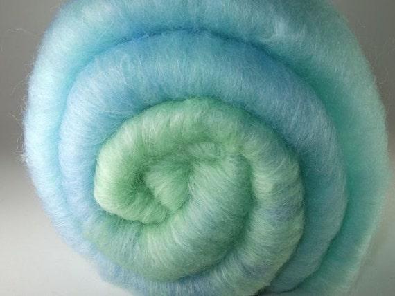 SMOOTH Spinning Fiber Batt - Colonial Wool, Soy SIlk - SEAGLASS (approx. 2.9 ounces)