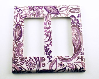 Light Switch Cover  Switch Plate Wall Decor  Double Rocker Switchplate Cover  in  Purple Paisley   (098DR)