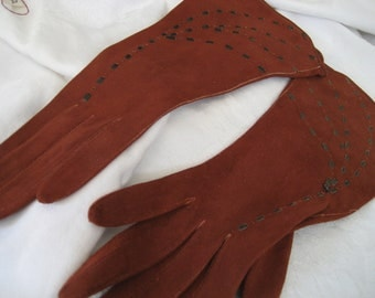 Beautiful Antique French Ribbon Woven Rust Kid Skin Leather Costume Clothing Gloves