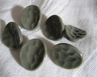 Set of 6 VINTAGE Texture Gray Glass BUTTONS