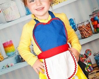 kids apron Snow White inspired Princess girls full apron birthday kids gift
