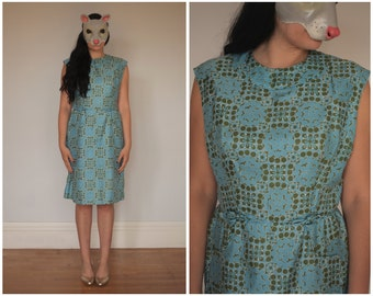 Vintage 60s Silk Sleeveless Wiggle Dress in Light Blue and Olive Green | Medium/Large
