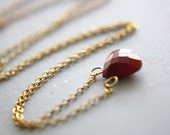 Tiny Ruby Drop and 14kt gold fill delicate gemstone necklace