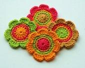 Crochet Applique Flower Motifs - Autumn Fall