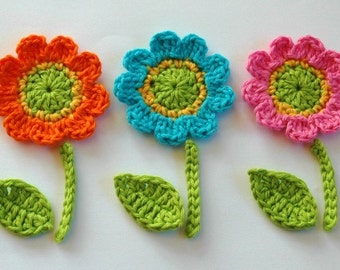 Crochet Flowers with leaves and stem -  Crochet Garden Series