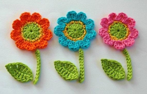 Crochet Flowers with leaves and stem -  Crochet Garden Series