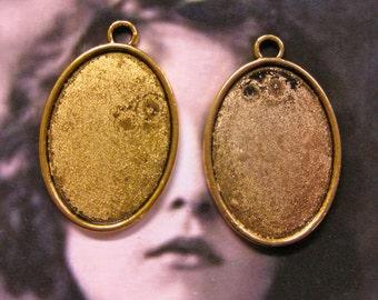Antique Brass Oval Frame Tray Bezels 2047GOL x4
