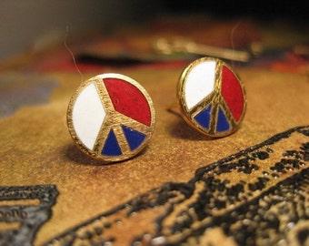 Groovy Vintage Enamel Post Earrings  Patriotic Peace Signs 247VIN x4