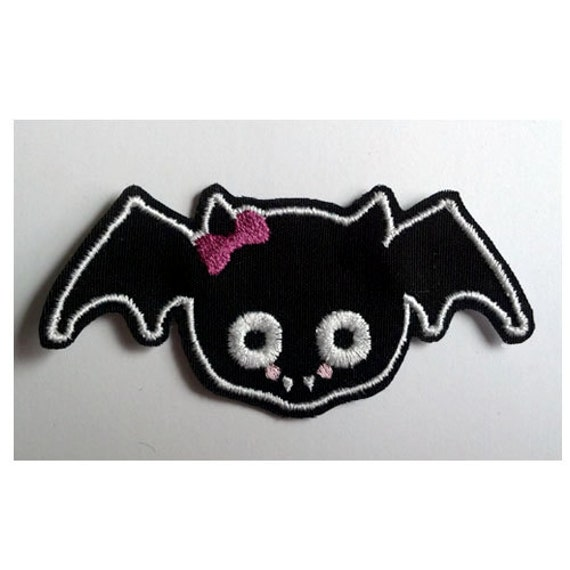 Sew on PATCH Girl Bat with Pink Bow Pocket full of Posiez