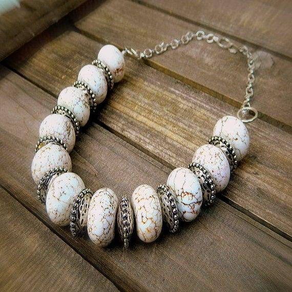 Great White Buffalo, Western Cowgirl Southwestern White Turquoise Necklace