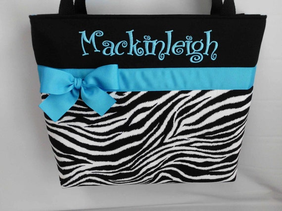 ZEBRA Print  ...  TURQUOISE  Accent Diaper  Bag  .. Personalized Free