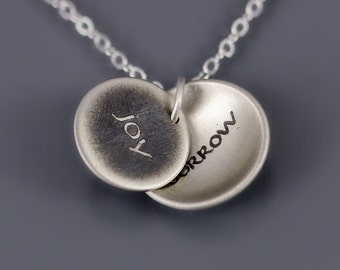 Joy/Sorrow Necklace, sterling silver handwritten necklace, locket style necklace, memorial necklace, dainty necklace,