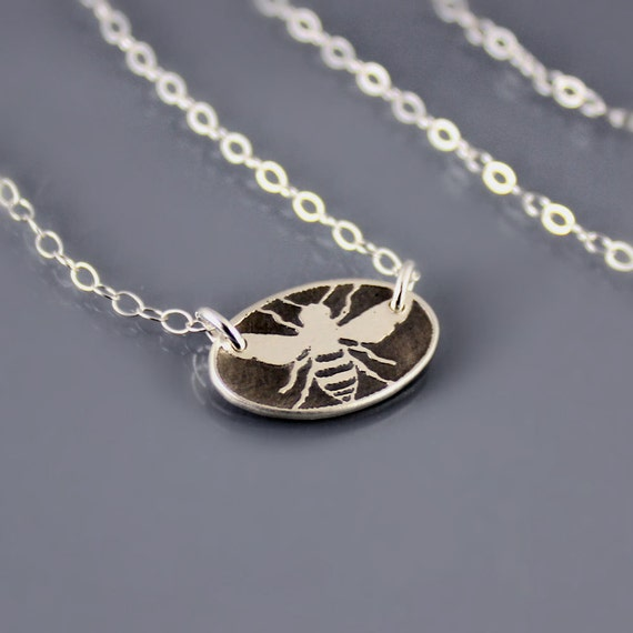 Tiny Oval Honey Bee Necklace - Etched Silver