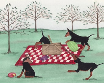 Toy manchesters having a picnic lunch / Lynch signed folk art print