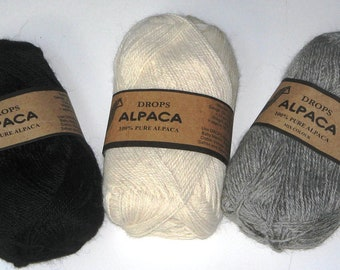 Garnstudio Drops Alpaca: Black, Gray, Off-white, Red and Goldenrod