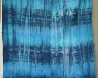Hand dyed Cotton Sateen yard, Sky, blue, turquoise, cobalt