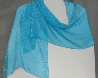 Devore Silk Scarf, turquoise, Dots, hand dyed