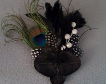 Black, Black fascinator, black feather, hair fascinator, pin up, black holiday , holiday party, new years eve party, pearl,peacock