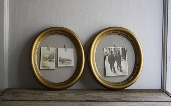 vintage gold oval picture frames