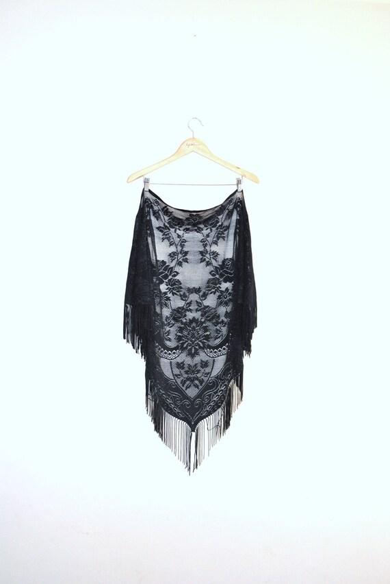 60s piano shawl // black floral // vintage 1960s piano shawl