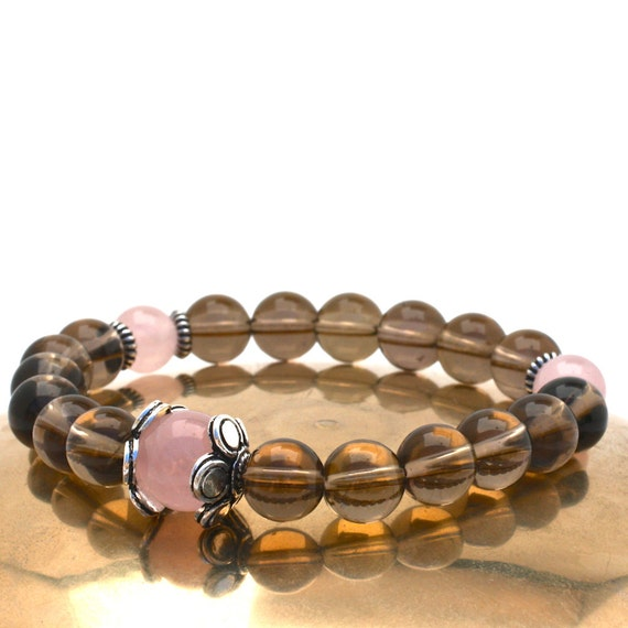 Smoky Quartz Wrist Mala Bracelet with Rose Quartz & Sterling Silver - Brown and Pink Semi Precious Stone Bracelet