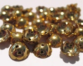 Gold Plated Bead Caps 8mm fits 8 to 10mm Beads (50)