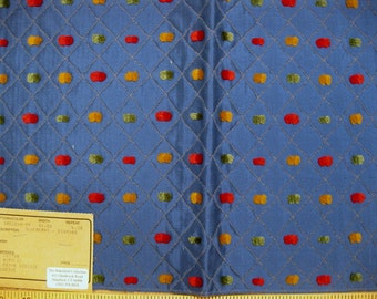 Eames Mod Fuzzy Dots Duralee Designer Fabric Sample Blue Multi Candy