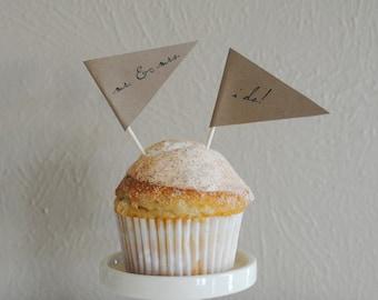 Wedding Cupcake Pennants - Set of 12