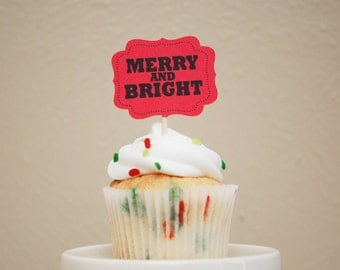 Christmas Cupcake Toppers - Merry & Bright