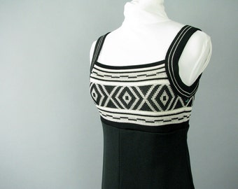 Vintage 1970's Geometric Black and Silver Prom Party Dress, Modern Size 2, Extra Small