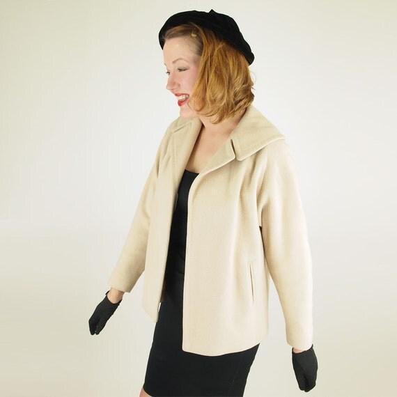50s Warm Beige Luxurious Cashmere Jacket S/M