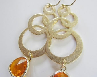 Gold Circle Earrings, Amber Glass, Long, Statement Earrings, Orange Earrings, Modern, Bridesmaid Earrings, Gardendiva