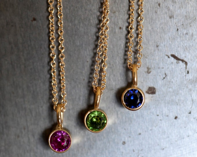 Gold Birthstone Necklace - 14k Gold Vermeil Necklace - Personalized Necklace - Gemstone Charm Pendant