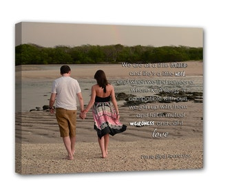 Wedding Sign Personalized Photo Canvas Text use Wedding Vows Lyrics Custom Music Personalized Art Typography and Photo on Canvas 12x16