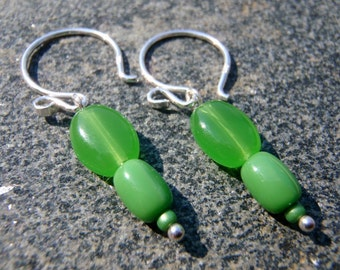 Bright Green Beaded Earrings