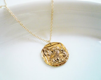 Gold Coin Necklace. Rustic Gold Athena Coin Necklace in Brass and Gold Filled. Ancient Coin Necklace. Greek Gold Coin Necklace. Owl Necklace